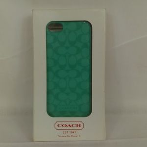 Coach iPhone 5 Designer Cell Phone Case Aqua